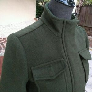 Lucky Brand Wool Military Coat Green XS New